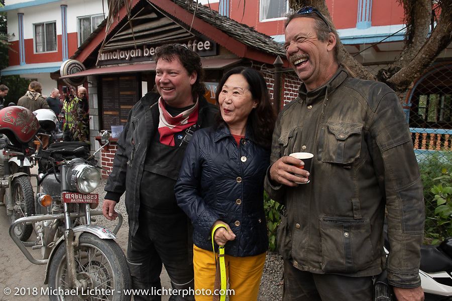 Rip Rolfsen and Round the World Doug Wothke pose with Chinese tourists on day-9 of our Himalayan Heroes adventure riding from Pokhara to Nuwakot, Nepal. Wednesday, November 14, 2018. Photography ©2018 Michael Lichter.