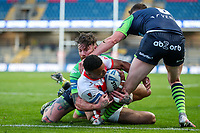 St Helens' Regan Grace scores his side's first try<br /> <br /> Photographer Alex Dodd/CameraSport<br /> <br /> Rugby League - Betfred Challenge Cup Quarter Finals - St Helens v Huddersfield Giants - Friday 7th May 2021 - Emerald Headingley Stadium - Leeds<br /> <br /> World Copyright © 2021 CameraSport. All rights reserved. 43 Linden Ave. Countesthorpe. Leicester. England. LE8 5PG - Tel: +44 (0 116 277 4147 - admin@camerasport.com - www.camerasport.com
