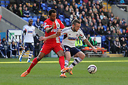 Bolton's  Jay Spearing ® wins the ball. Skybet championship match, Bolton Wanderers v Blackburn Rovers at the Reebok Stadium in Bolton, England on Saturday 1st March 2014.<br /> pic by David Richards, Andrew Orchard sports photography.