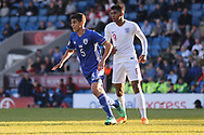 Rony Laufer of Israel (5) and Tyreece John-Jules of England (9) during the UEFA European Under 17 Championship 2018 match between England and Israel at Proact Stadium, Whittington Moor, United Kingdom on 4 May 2018. Picture by Mick Haynes.