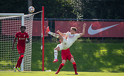 LIVERPOOL, ENGLAND - Wednesday, September 15, 2021: AC Milan's Luca Stanga shoots over during the UEFA Youth League Group B Matchday 1 game between Liverpool FC Under19's and AC Milan Under 19's at the Liverpool Academy. Liverpool won 1-0. (Pic by David Rawcliffe/Propaganda)