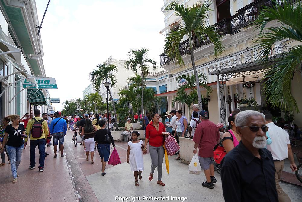 Cienfuegos, Cuba 2019/01/17  The main shopping street  in the center of Cienfuegos, Cuba<br /> Photo by Dennis Brack