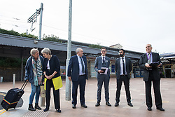 Cllr Gerry Clark (r), the Royal Borough of Windsor and Maidenhead's cabinet member for transport and infrastructure, speaks at the opening of a new station forecourt on 11th October 2021 in Maidenhead, United Kingdom. The £3.75m refurbishment is intended to make the area around the station more commuter-friendly in anticipation of an increase in passengers when Crossrail opens and to improve both the interchange between trains and other forms of transport and walking and cycling links between the station and the town centre.