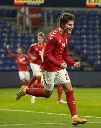 Målscorer Jonas Wind (Danmark) jubler efter scoringen til 1-0 under venskabskampen mellem Danmark og Sverige den 11. november 2020 på Brøndby Stadion (Foto: Claus Birch).