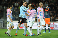 FOOTBALL - FRENCH CHAMPIONSHIP 2011/2012 - L1 - MONTPELLIER HSC v EVIAN TG - 1/05/2012 - PHOTO SYLVAIN THOMAS / DPPI - JOY EVIAN PLAYER AT THE END OF THE MATCH