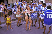 "Maciely Gomes, is crowned ""Miss Peladao"" in the city of Manaus, seen celebrating with her fans, during an amateur national football  tournament, Brazil."