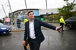 © Licensed to London News Pictures. 23/05/2021. Manchester, UK. Everton fan ANDY BURNHAM is seen leaving the stadium. Police and fans outside the stadium as the match ends. Manchester City fans are expected to celebrate outside the Etihad Stadium after their team beats Everton at home, having secured the Premiership title previously . Photo credit: Joel Goodman/LNP