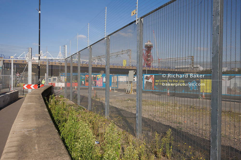 Part of the outer electrified perimeter fence of the 2012 Olympic Park site in Stratford.