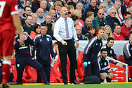 Burnley Manager Sean Dyche shouts instructions from the touchline. Premier League match, Liverpool v Burnley at the Anfield stadium in Liverpool, Merseyside on Saturday 16th September 2017.<br /> pic by Chris Stading, Andrew Orchard sports photography.