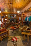 Cozy lobby at the Izaak Walton Inn in Essex, Montana, USA