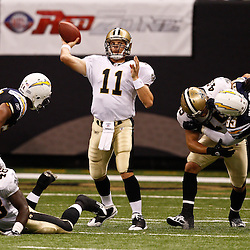 August 27, 2010; New Orleans, LA, USA; New Orleans Saints quarterback Patrick Ramsey (11) passes the ball during the second half of a preseason game at the Louisiana Superdome. The New Orleans Saints defeated the San Diego Chargers 36-21. Mandatory Credit: Derick E. Hingle