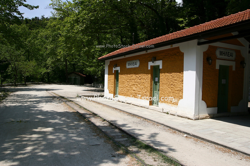Greece, Thessaly, Milies on the slopes of mount Pelion. Restored Ano Gatzea Railway Station the end of the line of the historic Pilion Train May 2007