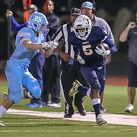 The King's Academy #5 Jayden Frazier vs Hillsdale in a Peninsula-Ocean Football Game at The King's Academy, Sunnyvale CA on 9/28/18. (Photograph by Bill Gerth)(TKA 47 Hillsdale 0)