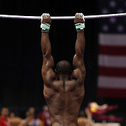 Athletes show their muscles and physique during warm up on the Horizontal bar before competiton during the Senior Men Competition at The 2013 P&G Gymnastics Championships, USA Gymnastics' National Championships at the XL, Centre, Hartford, Connecticut, USA. 16th August 2013. Photo Tim Clayton