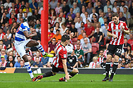 Queens Park Rangers Forward Idrissa Sylla (40) takes a shot at goal during the EFL Sky Bet Championship match between Brentford and Queens Park Rangers at Griffin Park, London, England on 21 April 2018. Picture by Stephen Wright.