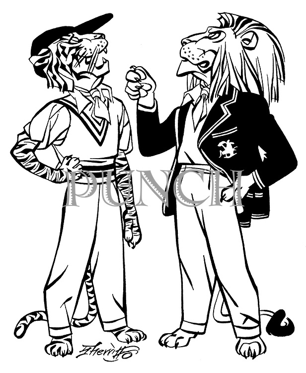 Notes for an Indian Summer ; Indian cricket tour <br /> British Lion and Indian Tiger chatting .