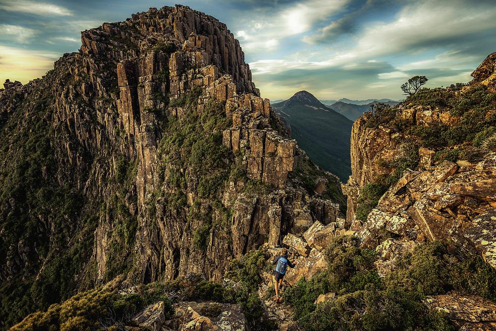 Hiking Lighting Ridge at mt Anne plateau in South West Tasmania