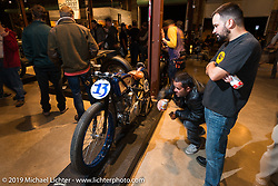 Brittney Olsen's Born Free-6 1923 Harley-Davidson board track racer built by husband Matt shown on display on Friday night opening of the Handbuilt Motorcycle Show. Austin, TX. April 10, 2015.  Photography ©2015 Michael Lichter.