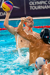 Jesse Nispeling of the Netherlands in action against France during the Olympic qualifying tournament. The Dutch water polo players are on the hunt for a starting ticket for the Olympic Games on February 17, 2021 in Rotterdam