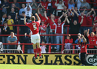 Photo: Rich Eaton.<br /> <br /> Wrexham v Hereford United. Coca Cola League 2. 24/09/2006. Wrexhams Steve Evans celebrates scoring in front of the Wrexham fans