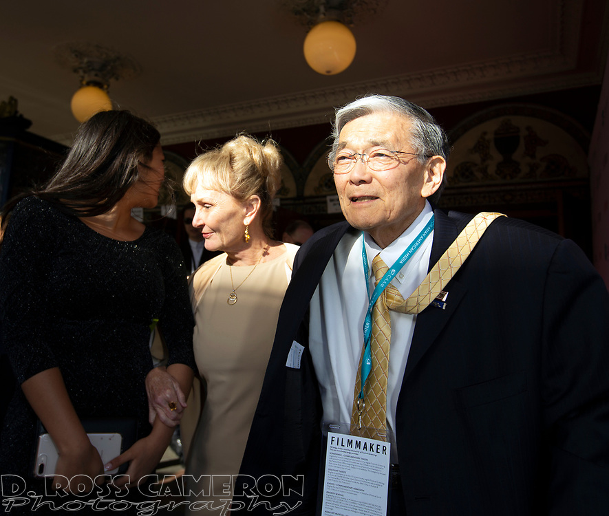 """Norman Mineta, right, arrives with wife Danealia at the CAAM Film Festival for the world premiere of """"An American Story: Norman Mineta and His Legacy"""" at the Castro Theatre, Thursday, May 10, 2018 in San Francisco, Calif. (D. Ross Cameron/SF Chronicle)"""