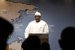 April 18, 2018 - London, United Kingdom - President Adama Barrow of Gambia, speaking at the Chatham House think-tank in London on 18 April, 2018. (Credit Image: © Dominic Dudley/Pacific Press via ZUMA Wire)