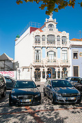 typical architecture in the main channel of Aveiro, Portugal