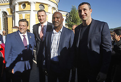 October 1, 2018 - Kiev, Ukraine - (L-R) WBC President Mauricio Sulaiman,Kiev's Mayor and ex heavyweight boxing champion Vitali Klitschko,ex boxing champion of the World Evander Holyfield and Ukrainian heavyweight boxing champion Vladimir Klitschko pose for a photo during an official opening of the 56th WBC ( World Boxing Council ) Convention in Kiev, Ukraine, 01 October, 2018. The 56th WBC Convention takes place in Kiev from September 30 to October 05. The event participate of boxing legends Lennox Lewis, Evander Holyfield, Eric Morales, Alexander Usik, Vitali Klitschko and about 700 congress participants from 160 countries. (Credit Image: © Str/NurPhoto/ZUMA Press)