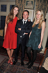 Left to right, SOPHIA ROGGE, HARRY BECHER and ALICE ROTHSCHILD at a dinner hosted by Edward Taylor and Alexandra Meyers in association with Johnnie Walker Blue Label held at Mark's Club, 46 Charles Street, London W1 on 26th April 2012.