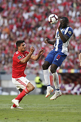 October 7, 2018 - Lisbon, Portugal - Moussa Marega of Porto (R) vies for the ball with Gabriel of Benfica   (L) during the Portuguese League football match between SL Benfica and FC Porto at Luz Stadium in Lisbon on October 7, 2018. (Credit Image: © Carlos Palma/NurPhoto/ZUMA Press)