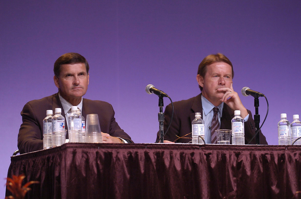"""Austin, Texas:  July 21, 2006: Dell Computer's annual shareholders meeting Friday at the Austin Convention center featured, left to right,  CFO Jim Schneider and CEO Kevin Rollins. Rollins told shareholders that competition in the computer industry has become """"more intense"""", as the company missed earnings expecatations for the second quarter.  ©© Bob Daemmrich"""