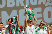 The portuguese team captain Cristiano Ronaldo shows the Euro Cup to the crowd of portuguese supporters at Alameda Dom Afonso Henriques, in Lisbon. Portugal's national squad won the Euro Cup the day before, beating in the final France, the organizing country of the European Football Championship, in a match that ended 1-0 after extra-time.