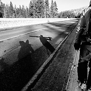 Forrest Jillson leads Jim Ryan and Jay Goodrich shadows back to the truck after a day of backcountry skiing.