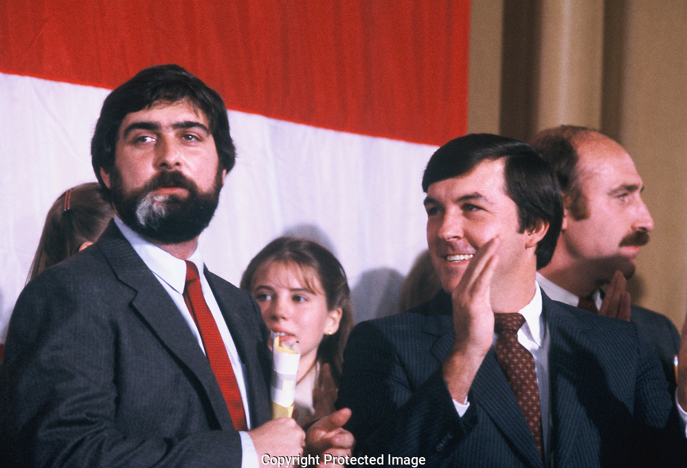 Pat Caddell and Namilton Jordan at what was supposed to be a victory celebration for Jimmy Carter on November 4, 1980<br /> Photo by Dennis Brack