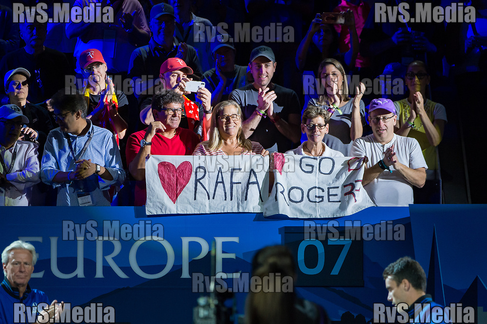 GENEVA, SWITZERLAND - SEPTEMBER 22: Roger Federer and Rafael Nadal of Team Europe fans cheers during Day 3 of the Laver Cup 2019 at Palexpo on September 20, 2019 in Geneva, Switzerland. The Laver Cup will see six players from the rest of the World competing against their counterparts from Europe. Team World is captained by John McEnroe and Team Europe is captained by Bjorn Borg. The tournament runs from September 20-22. (Photo by Robert Hradil/RvS.Media)