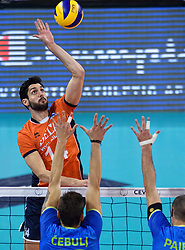 Niels Klapwijk #14 during volleyball match between National teams of Netherlands and Slovenia in Playoff of 2015 CEV Volleyball European Championship - Men, on October 13, 2015 in Arena Armeec, Sofia, Bulgaria. Photo by Ronald Hoogendoorn / Sportida
