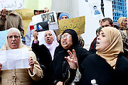 Tunis, Tunisia. January 26th 2011.In front the Ministry of justice and human rights, protesters demand to release political prisoners.