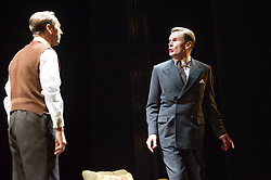© Licensed to London News Pictures. 26/03/2012. London, UK. Playful Productions and Michael Alden present the stage production of The Kings Speech, by David Seidler, at Wyndhams Theatre, London.Picture shows: Charles Edwards as Bertie (King George VI) Jonathan Hyde as Lionel. Photo credit : Tony Nandi/LNP