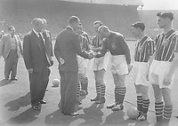 Football - 1956 FA Cup Final - Manchester City 3 Birmingham City 1<br /> <br /> Manchester City goalkeeper Bert Trautmann is introduced to HRH Prince Philip, the Duke of Edinburgh, before kick-off at Wembley.<br /> <br /> 05/05/1956