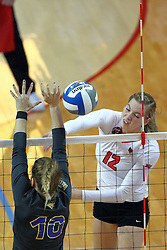 18 November 2016:  Aly Dawson strikes the ball past Heather Hook during an NCAA women's volleyball match between the Northern Iowa Panthers and the Illinois State Redbirds at Redbird Arena in Normal IL (Photo by Alan Look)