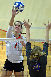 18 November 2016:  Ali Line & Bri Weber during an NCAA women's volleyball match between the Northern Iowa Panthers and the Illinois State Redbirds at Redbird Arena in Normal IL (Photo by Alan Look)