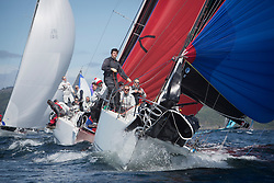 Clyde Cruising Club's Scottish Series 2019<br /> 24th-27th May, Tarbert, Loch Fyne, Scotland<br /> <br /> Day  1 - Perfect Conditions for RC 35 Class. <br /> <br /> IRL3307, Jacob VII, John Stamp, Port Edgar, Corby 33, being chased by Red kite of, IRL2160, Chimaera, Andrew Craig, Royal Irish YC, IRC<br /> <br /> Credit: Marc Turner / CCC