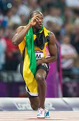 11.08.2012, Olympia Stadion, London, GBR, Olympia 2012, 4 x 100m Staffel, Herren, Finale, im Bild Usain Bolt (JAM) jubelt // Usain Bolt (JAM) celebrate after Men's 4 x 100m Relay Final at the 2012 Summer Olympics at Olympic Stadium, London, United Kingdom on 2012/08/11. EXPA Pictures © 2012, PhotoCredit: EXPA/ Johann Groder#
