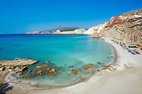 Europe, Grece, Mer Egée, Cyclades, île de Milos, plage de Firiplaka // Firiplaka beach, turquoise beach, Milos Island, Cyclades Islands, Greek Islands, Aegean Sea, Greece, Europe