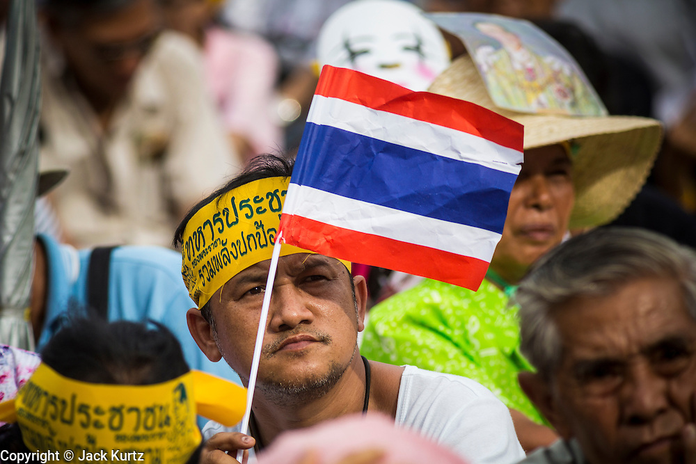 04 AUGUST 2013 - BANGKOK, THAILAND: Anti-government protesters in Bangkok Sunday. About 2,000 people, members of the  People's Army against Thaksin Regime, a new anti-government group, protested in Lumpini Park in central Bangkok. The protest was peaceful but more militant protests are expected later in the week when the Parliament is expected to debate an amnesty bill which could allow Thaksin Shinawatra, the exiled former Prime Minister, to return to Thailand.     PHOTO BY JACK KURTZ