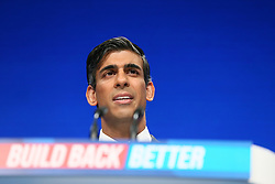 © Licensed to London News Pictures. 04/10/2021. Manchester, UK.  Rishi Sunak speaks at the Conservative Party Conference on Monday. The annual Conservative Party Conference has returned to Manchester this year after being held online in 2020. Photo credit: Adam Vaughan/LNP
