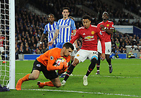 Football - 2017 / 2018 Premier League - Brighton & Hove Albion vs. Manchester United<br /> <br /> Jesse Lingard of United is foiled by Mathew Ryan at The Amex.<br /> <br /> COLORSPORT/ANDREW COWIE