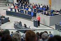21 MAR 2019, BERLIN/GERMANY:<br /> Angela Merkel, CDU Bundeskanzlerin, waehrend einer  Regierungserklaerung zum Europaeischen Rat vor der kompletten Regierungsbank, Plenum, Deutscher Bundestag<br /> IMAGE: 20190321-01-019