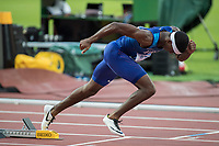 Athletics - 2017 IAAF London World Athletics Championships - Day Three, Evening Session<br /> <br /> Men's 400m Semi Final<br /> <br /> Fred Kerly (United States) blasts out of his blocks at the London Stadium<br /> <br /> COLORSPORT/DANIEL BEARHAM