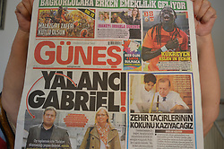 August 26, 2017 - Ankara, Turkey - Gunes, a pro-government Turkish daily newspaper, depicts Germany's Minister of Foreign Affairs Sigmar Gabriel on its front page with a headline that reads 'Liar Gabriel' in Ankara, Turkey on August 26, 2017. (Credit Image: © Altan Gocher/NurPhoto via ZUMA Press)
